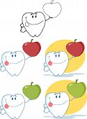 Tooth Cartoon Character . Collection Set