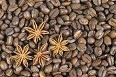 Lots Of Coffee Beans. And Four Anise Stars. Pattern.