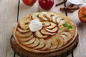 pic of cream puff  - Open apple pie puff pastry with ice cream - JPG