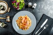 foto of endive  - Farfalle with tomato sauce and roasted salmon fresh endive salad - JPG