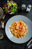 picture of endive  - Farfalle with tomato sauce and roasted salmon fresh endive salad - JPG