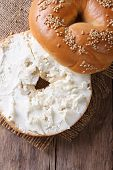 Bagel With Cream Cheese And Sesame  Vertical Top View