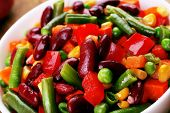 Healthy beans salad close-up