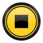 stop icon, yellow logo,