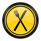 eat icon, yellow logo, restaurant symbol