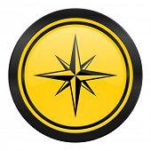 compass icon, yellow logo,