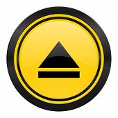 eject icon, yellow logo, open sign