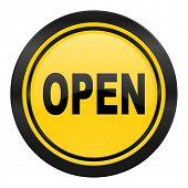 open icon, yellow logo,