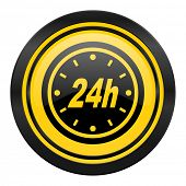 24h icon, yellow logo,