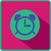 Alarm clock. Flat modern web button