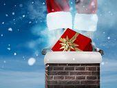 Santa claus boots against blue sky