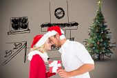 Young festive couple against grey background with vignette