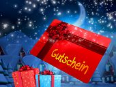 foto of quaint  - Flying gift card and presents against quaint town with bright moon - JPG