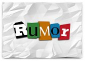 Rumor word in cutout letters like a ransom note to illustrate spreading or sharing gossip, lies, untrue, unconfirmed news or misinformation