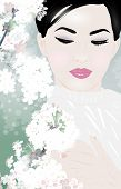 Young asian woman with cherry sakura flowers. Birght white colors. EPS 10 format.