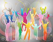 Happy different colors people silhouettes dancing on abstract background. EPS 10 format.