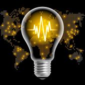 Light bulb with line chart on black back background with world map. Modern design template. Global business concept