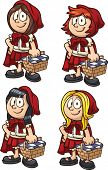 Little Red Riding Hood with four different hairstyles. Vector clip art illustration with simple gradients. Each on a separate layer.