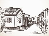 Sketch of town street with small houses Vector illustration