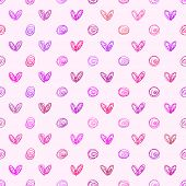 Abstract vector background Seamless hand drawn heart and polka dot