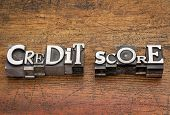 credit score text in mixed vintage metal type printing blocks over grunge wood