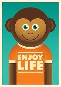 Illustration of a cheerful monkey. Vector illustration.