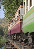 Kanchanaburi Thailand-december 20: Tourist      Take A Photo When Touring Trains Running On Death Ra