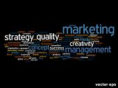 Vector concept or conceptual abstract success or marketing word cloud or wordcloud isolated on background
