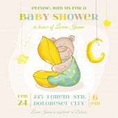 Baby Shower or Arrival Card - with Baby Bear - in vector