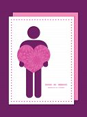 Vector pink abstract flowers texture man in love silhouette frame pattern invitation greeting card t