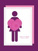 Vector pink abstract flowers texture woman in love silhouette frame pattern invitation greeting card