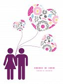 Vector vibrant floral scaterred couple in love silhouettes frame pattern invitation greeting card te
