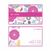 Vector vibrant floral scaterred horizontal stripe frame pattern business cards set