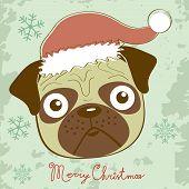 Illustration of cute Christmas pug