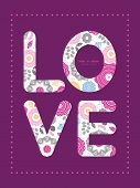 Vector vibrant floral scaterred love text frame pattern invitation greeting card template