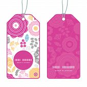 Vector vibrant floral scaterred vertical round frame pattern tags set