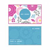 Vector vibrant floral scaterred vertical round frame pattern business cards set