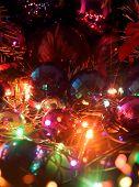 Christmas balls and electric garland.