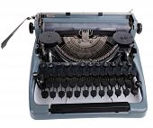 Antique Typewriter. Vintage Typewriter Machine, isolated on white
