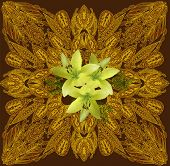 illustration with brown and yellow decoration with light lily flowers