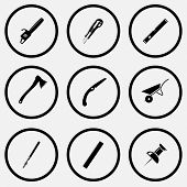 Angularly set. Black and white set vector icons.