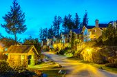 A perfect neighborhood. Houses in suburb at Spring in the north America