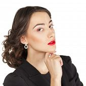 Close Up Portrait of young business woman, isolated on white background
