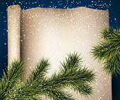 Winter old paper background with fir twigs. Christmas vector illustration. Eps10.