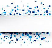 Paper card on blue celebration confetti. Vector background.