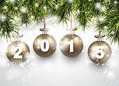 Christmas golden balls with 2015. Fir twigs. Vector illustration.