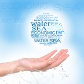 Concept of world's water reserve, words in hand on blue background