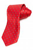 modern red tie on a white background