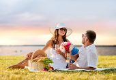 love, dating, people and holidays concept - smiling couple drinking champagne on picnic over evening seaside background
