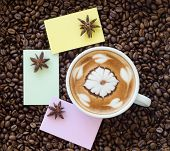 Closeup Of A Beautiful Cup Of Hot Coffee On Coffee Bean Background